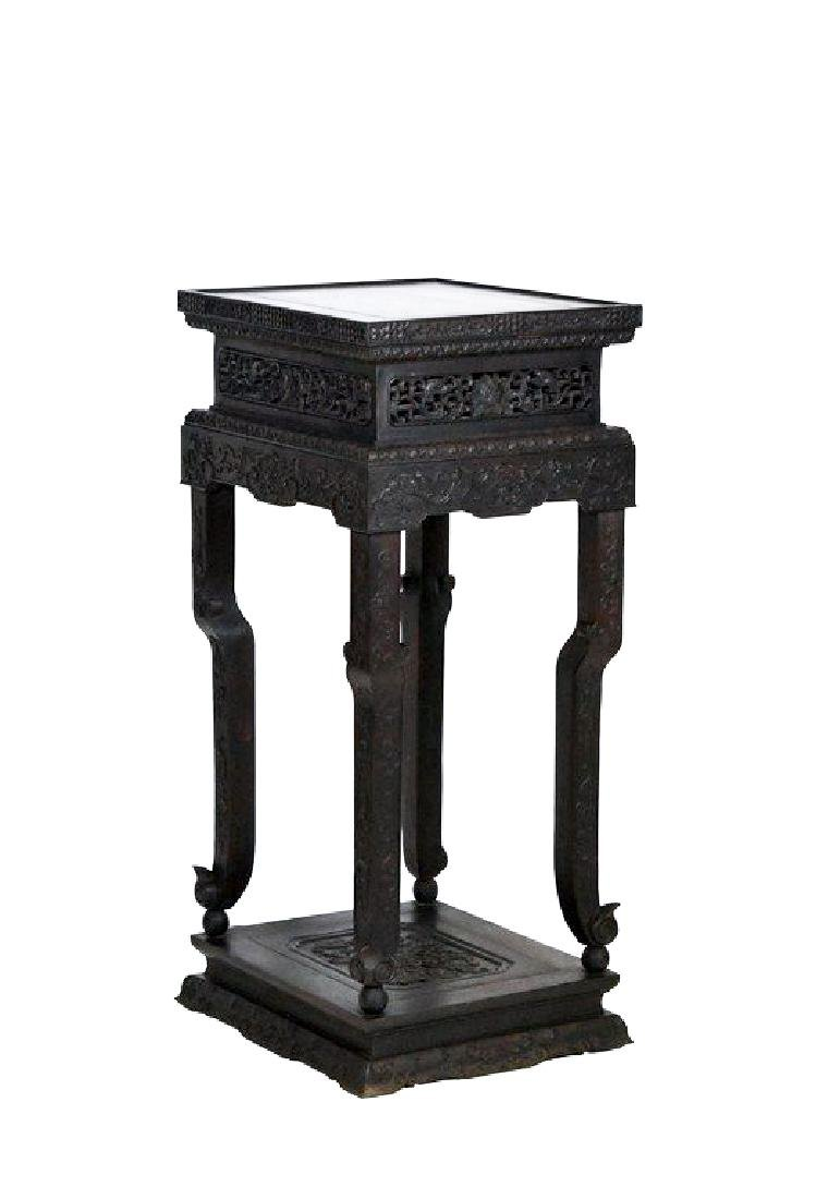 19TH C CHINESE ZITAN CARVED TALL STAND