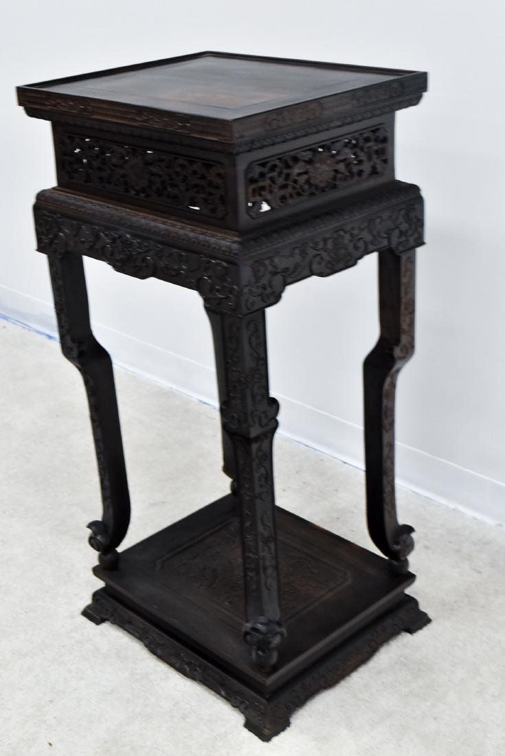 19TH C CHINESE ZITAN CARVED TALL STAND - 3
