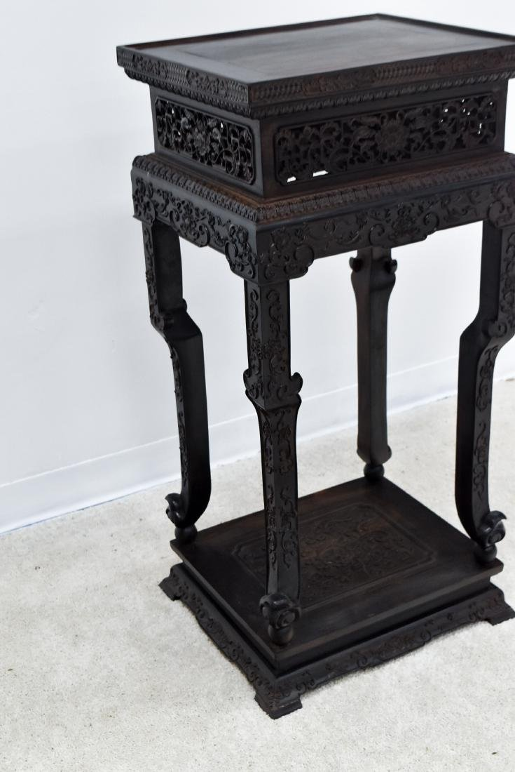 19TH C CHINESE ZITAN CARVED TALL STAND - 4