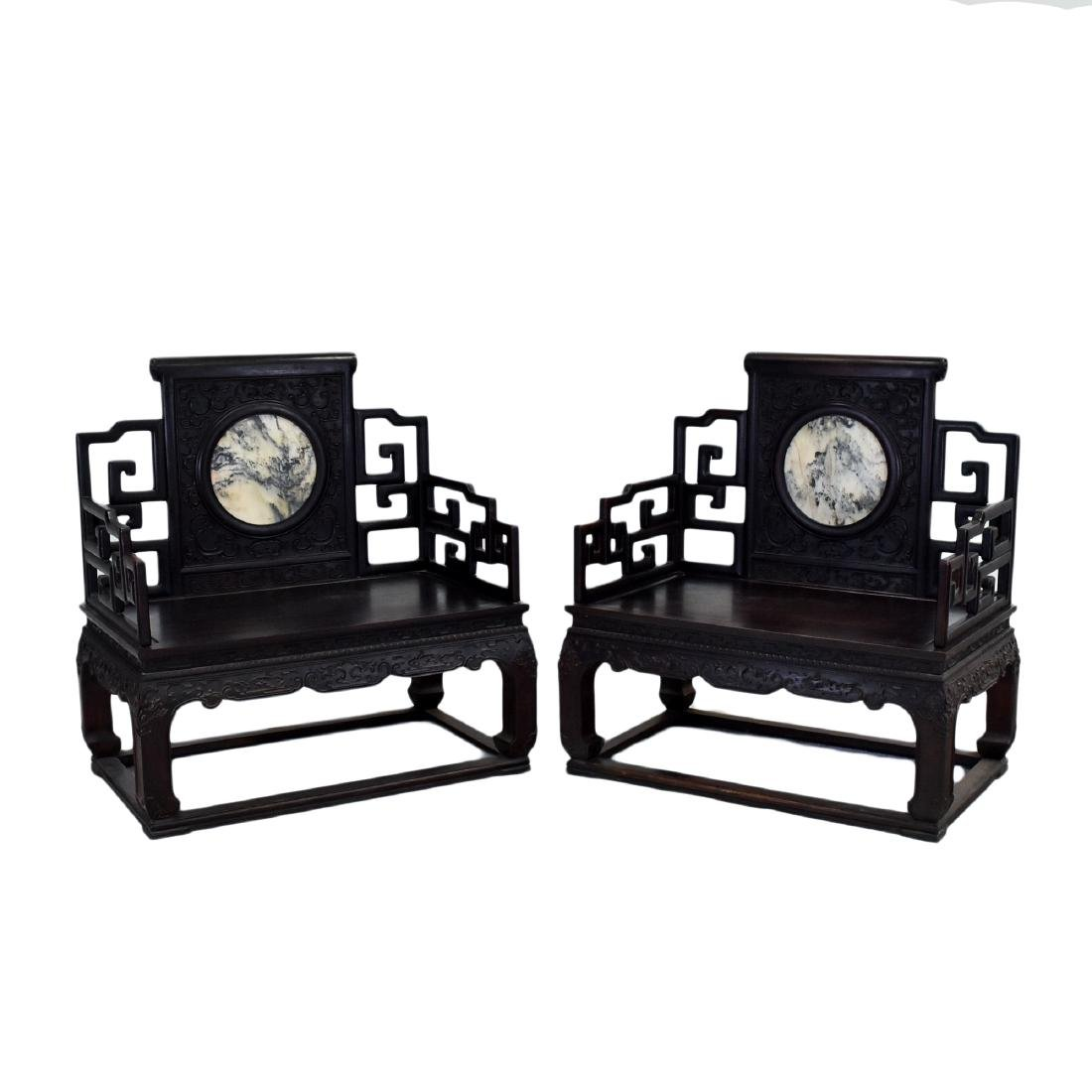 PAIR OF ZITAN THRONE CHAIRS WITH ROUND MARBLE PLAQUE