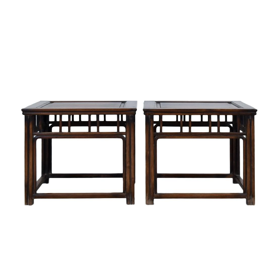19TH C PAIR OF HUANGHUALI SQUARE STANDS