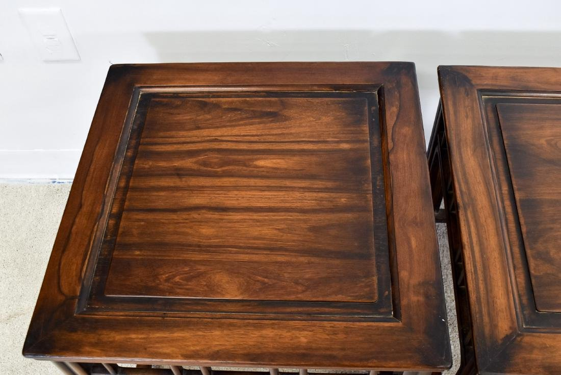 19TH C PAIR OF HUANGHUALI SQUARE STANDS - 5