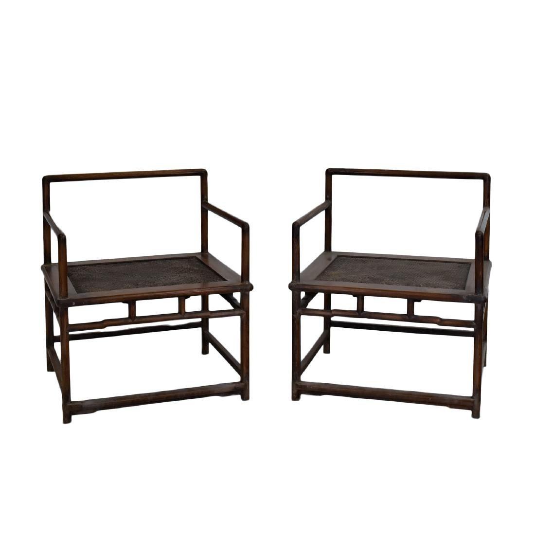 18/19TH C. PAIR OF HUANGHUALI WOOVEN ARMCHAIRS
