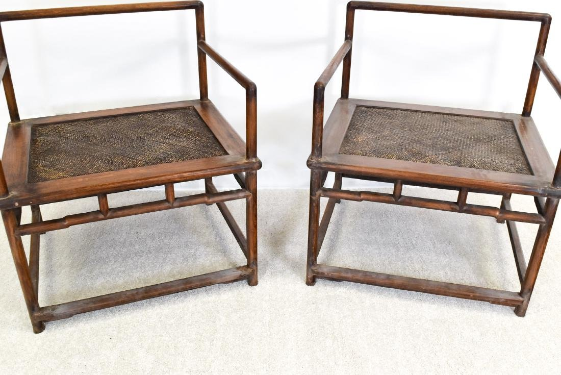 18/19TH C. PAIR OF HUANGHUALI WOOVEN ARMCHAIRS - 5