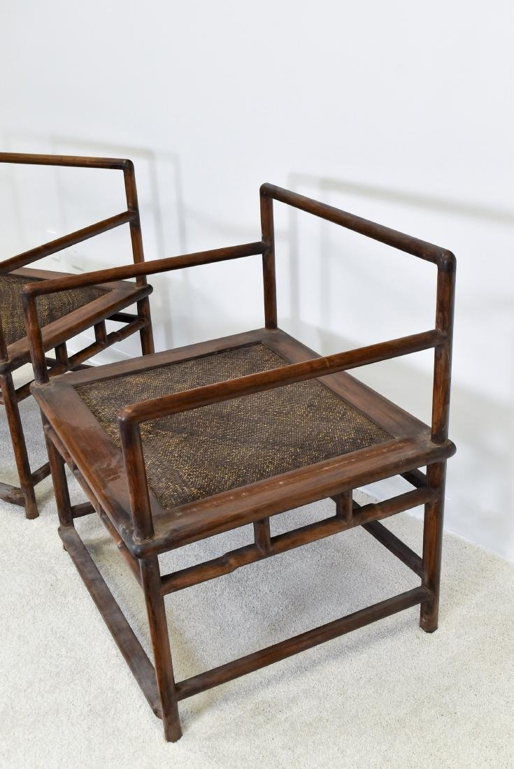 18/19TH C. PAIR OF HUANGHUALI WOOVEN ARMCHAIRS - 9