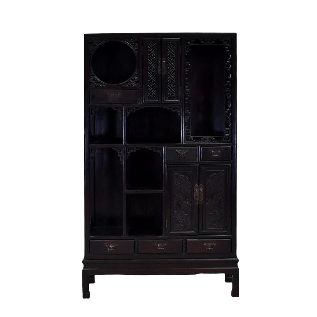 20TH C CHINESE HARDWOOD GALLERY CABINET