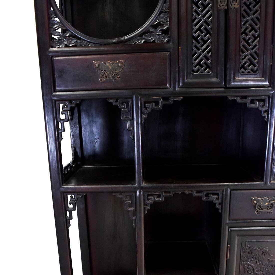 20TH C CHINESE HARDWOOD GALLERY CABINET - 6