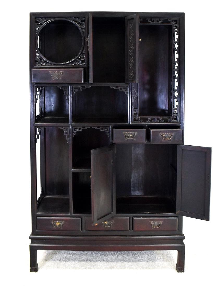 20TH C CHINESE HARDWOOD GALLERY CABINET - 9