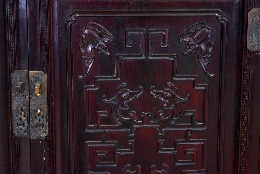 20TH C CARVED CHINESE HARDWOOD GALLERY CABINET - 10
