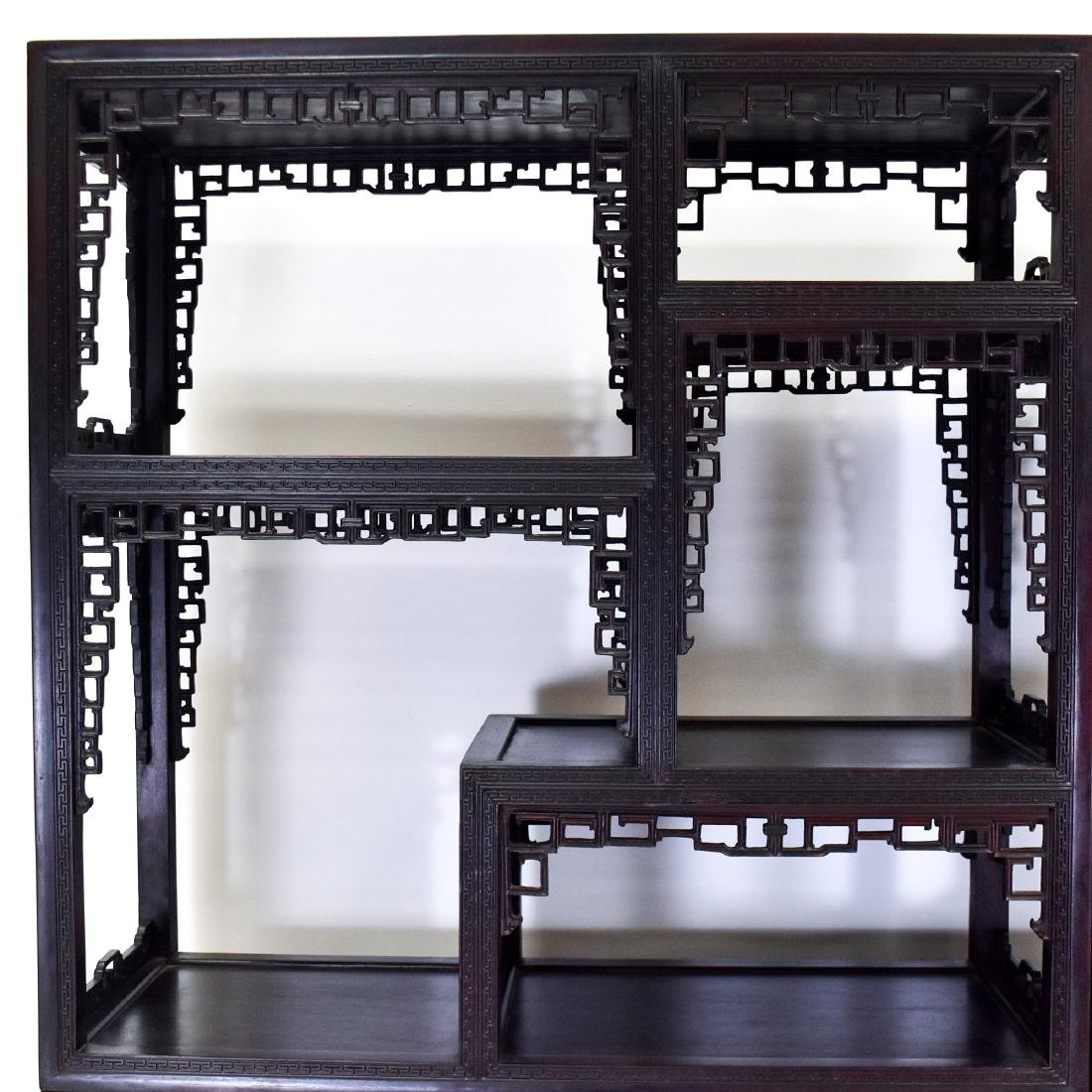 20TH C CARVED CHINESE HARDWOOD GALLERY CABINET - 4