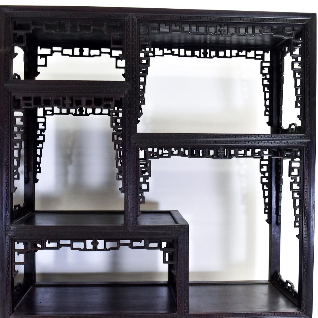 20TH C CARVED CHINESE HARDWOOD GALLERY CABINET - 6