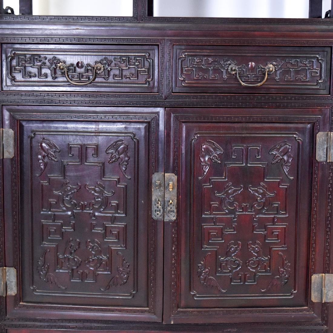 20TH C CARVED CHINESE HARDWOOD GALLERY CABINET - 8