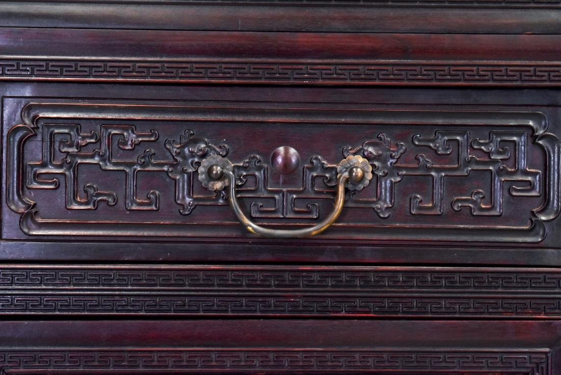 20TH C CARVED CHINESE HARDWOOD GALLERY CABINET - 9