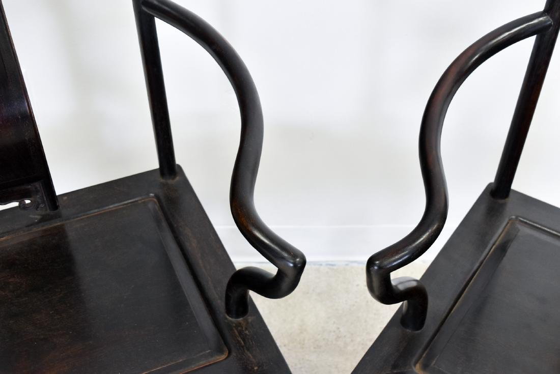 19TH C PAIR OF ZITAN SOUTHERN OFFICIAL'S HAT CHAIRS - 10