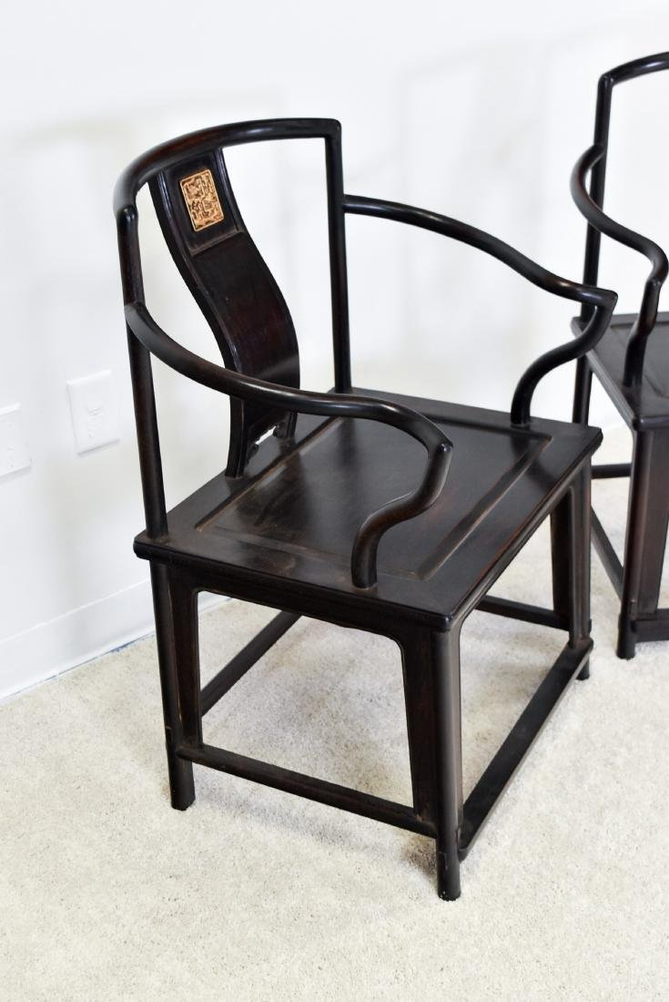 19TH C PAIR OF ZITAN SOUTHERN OFFICIAL'S HAT CHAIRS - 2