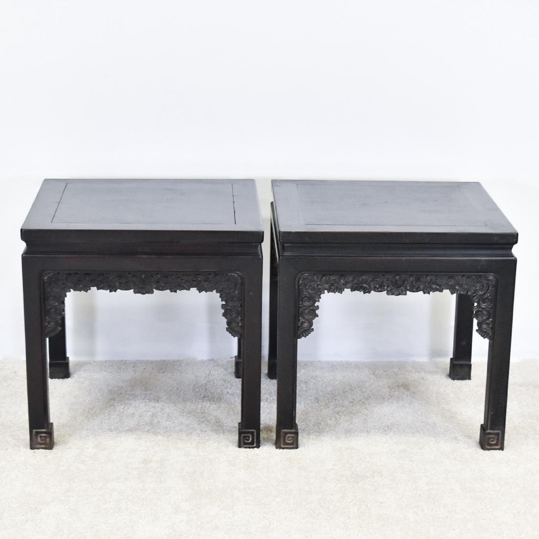 19TH C PAIR OF CHINESE ZITAN SQUARE STANDS - 10