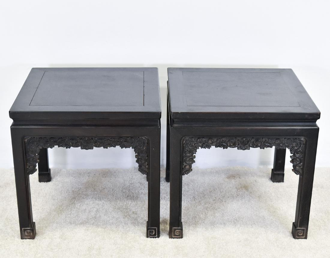 19TH C PAIR OF CHINESE ZITAN SQUARE STANDS - 2