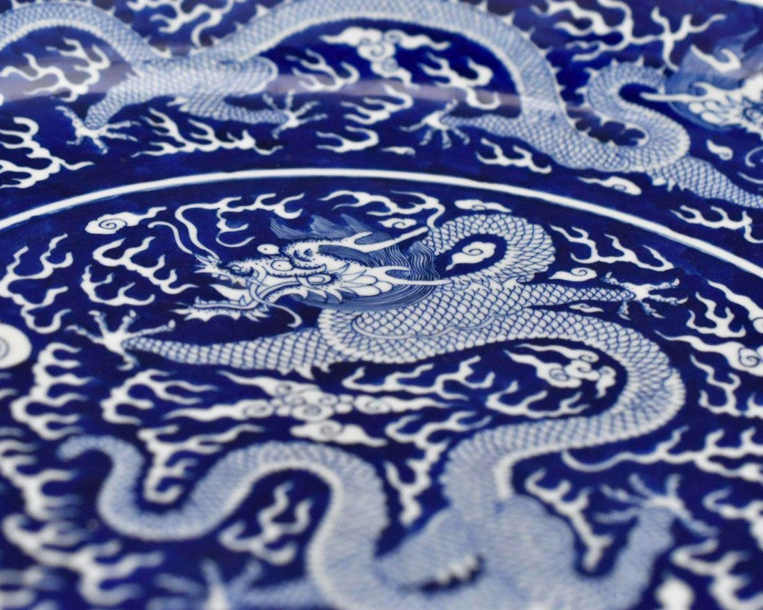 DAOGUANG REVERSED BLUE GLAZED DRAGON CHARGER - 8