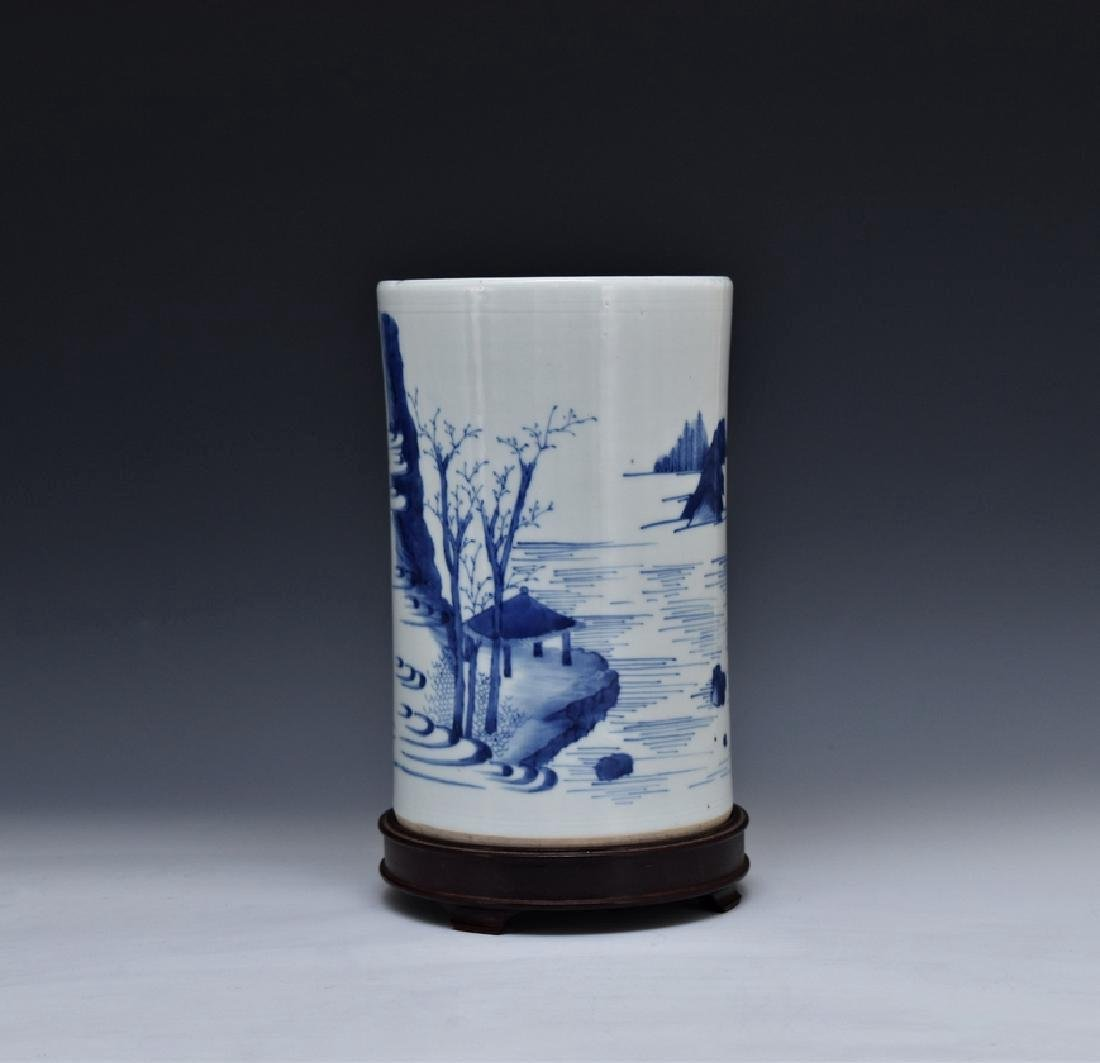 BLUE AND WHITE PORCELAIN BRUSH POT ON STAND - 2