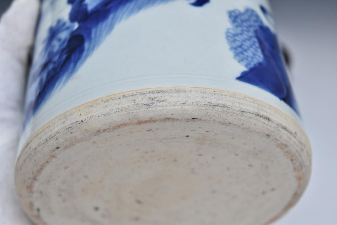 BLUE AND WHITE PORCELAIN BRUSH POT ON STAND - 5