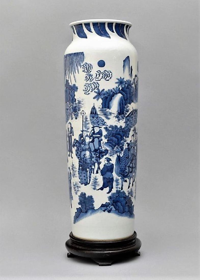 VERY FINE BLUE AND WHITE ELEPHANT LEG VASE ON STAND