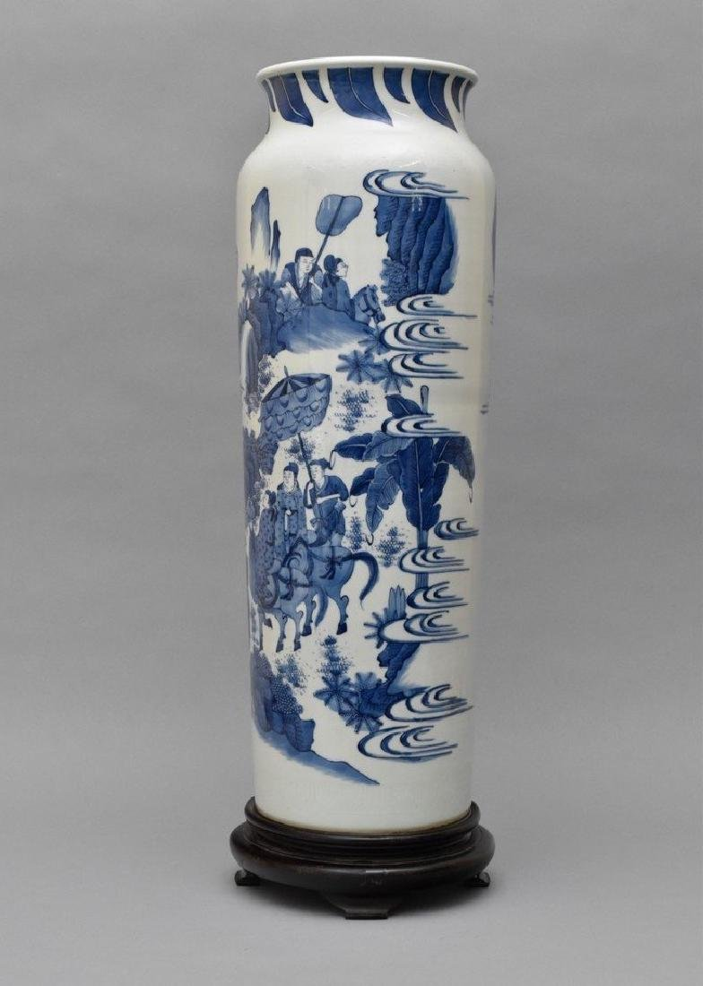 VERY FINE BLUE AND WHITE ELEPHANT LEG VASE ON STAND - 3