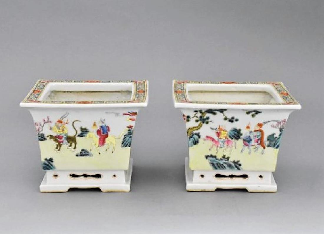 PAIR OF QING PORCELAIN SQUARE PLANT POTS