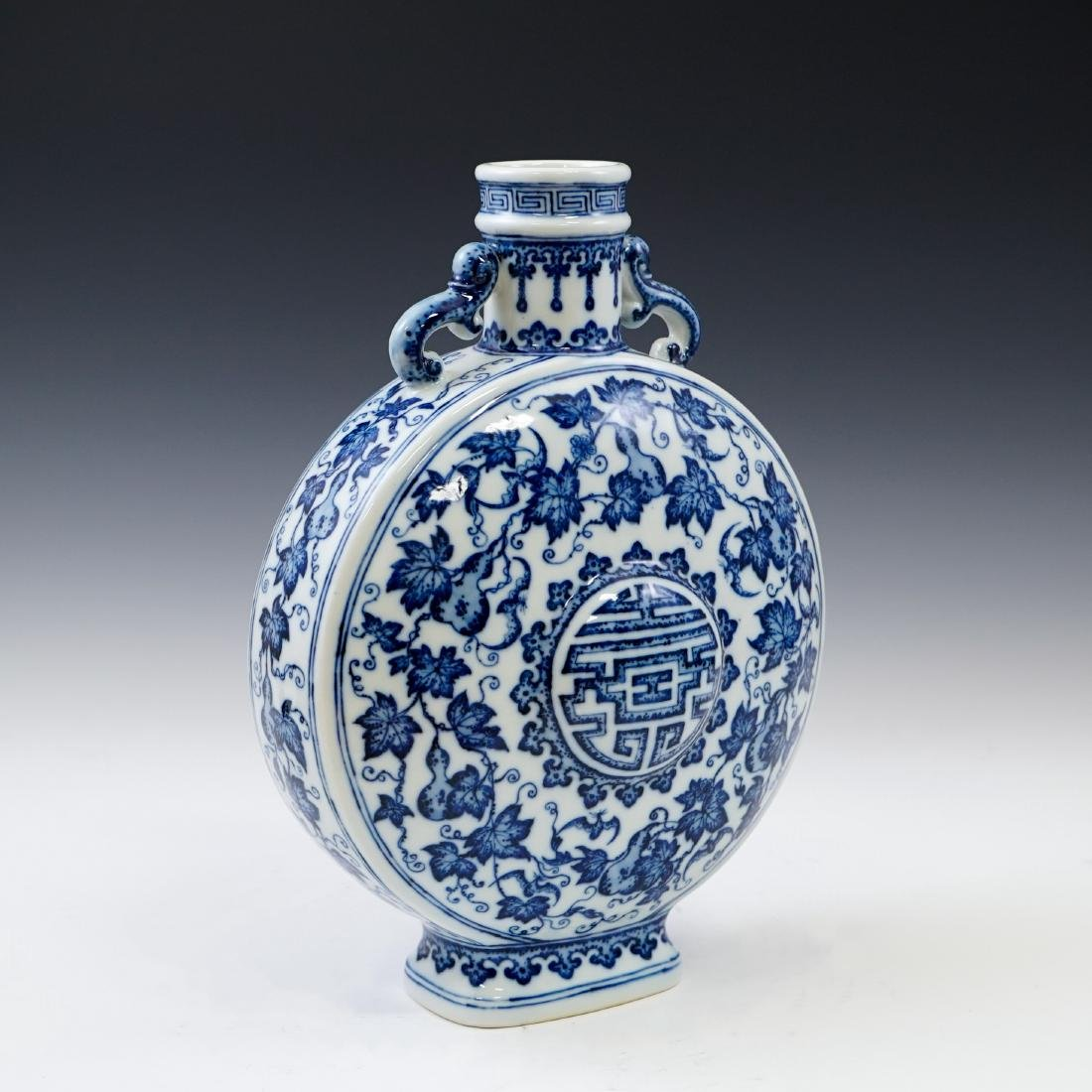 VERY FINE QIANLONG BLUE AND WHITE PORCELAIN MOON FLASK - 6