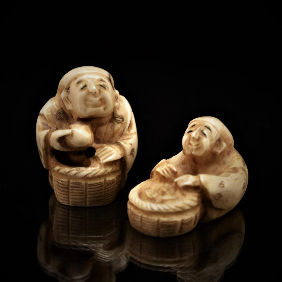 SET OF 2 PCS JAPANESE NETSUKE