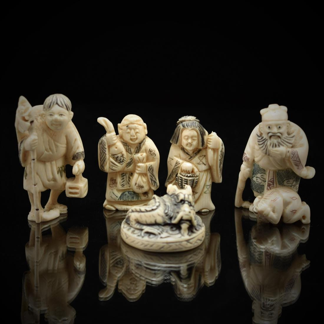 SET OF 5 PCS JAPANESE NETSUKE