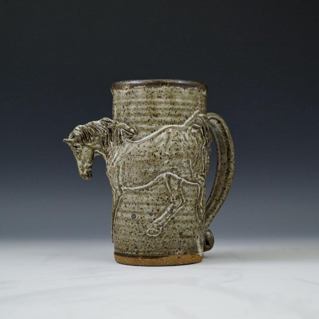 AMY ROMANIC, HORSE POTTERY MUG,  1982