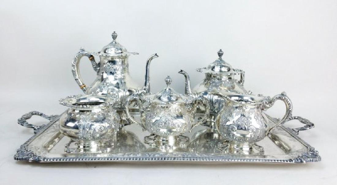 SET OF 6 PCS FRANK WHITING SILVER TEA SET, 266.69 TROY