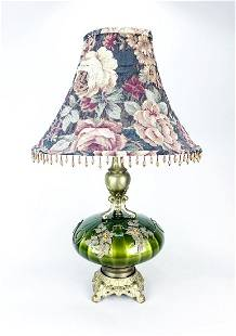 VINTAGE GLASS LAMP WITH BRASS AND SHADE