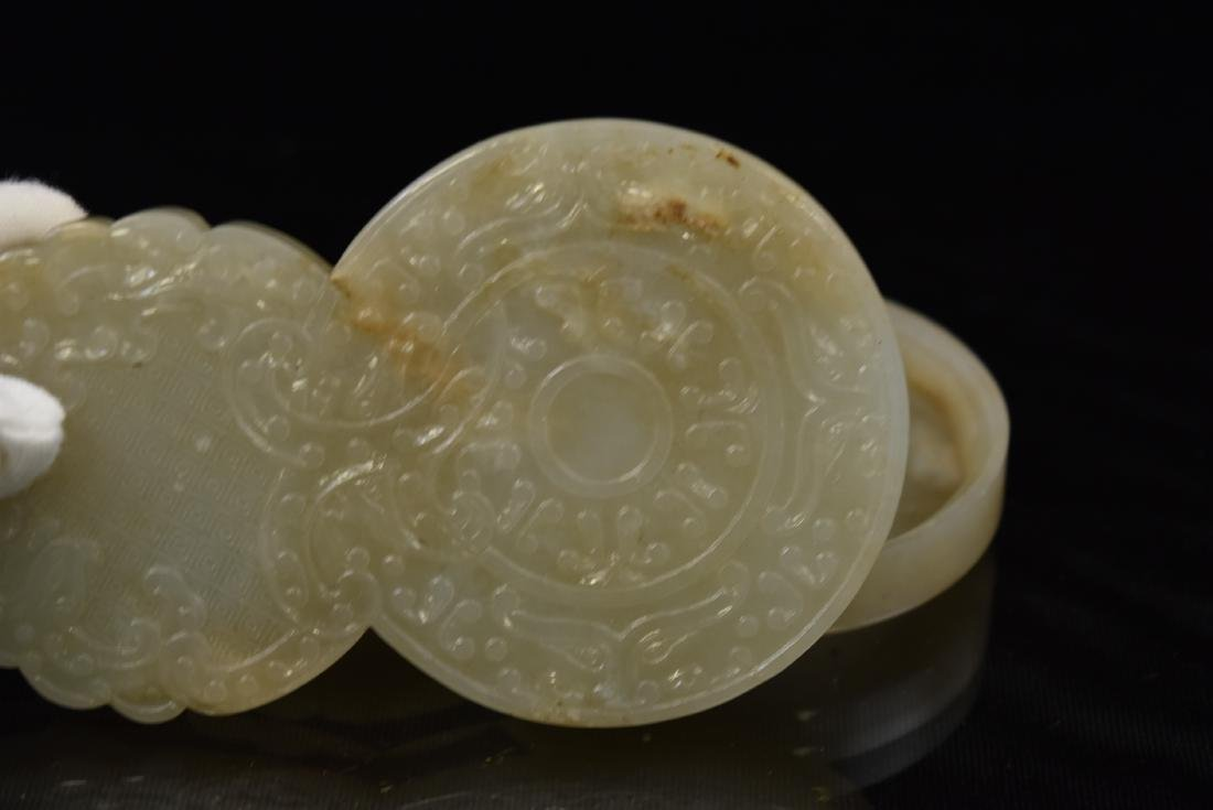 CHINESE DOUBLE GOURD CARVED JADE BOX - 5