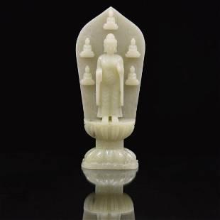 CHINESE STANDING SHAKYAMUNI BUDDHA JADE SCULPTURE