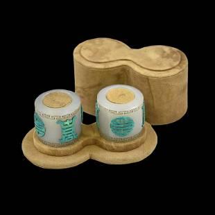 PAIR OF JADE & TURQUOISE INLAID ARCHER RINGS INBOX