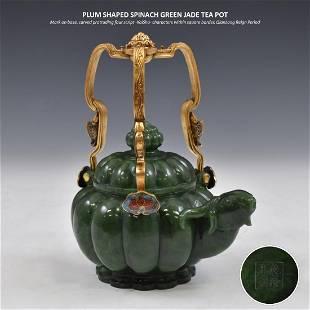 PLUM SHAPED SPINACH GREEN JADE TEA POT