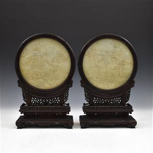 PAIR OF LANDSCAPE CARVED JADE ROUND TABLE SCREEN