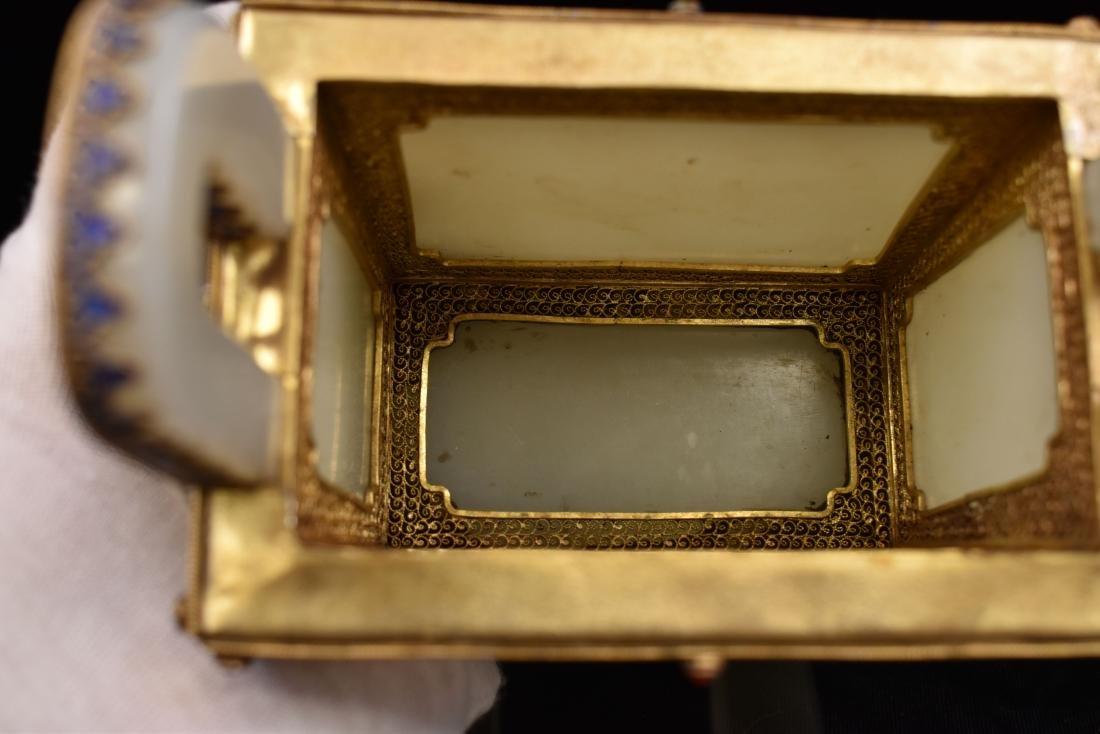 GILT BRONZE INLAID JADE CENSER IN BOX, QIANLONG MARK - 4