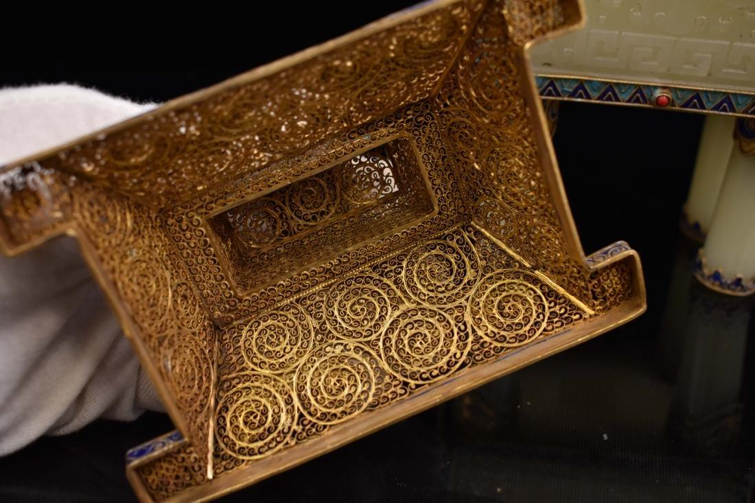 GILT BRONZE INLAID JADE CENSER IN BOX, QIANLONG MARK - 8