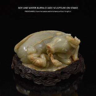CARVED JADE BOY & WATER BUFFALO SCULPTURE ON STAND