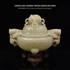 CARVED JADE COVERED TRIPOD CENSER ON STAND