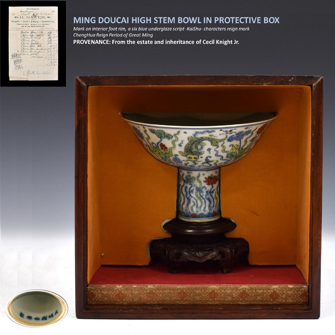 MING DOUCAI HIGH STEM BOWL IN PROTECTIVE BOX