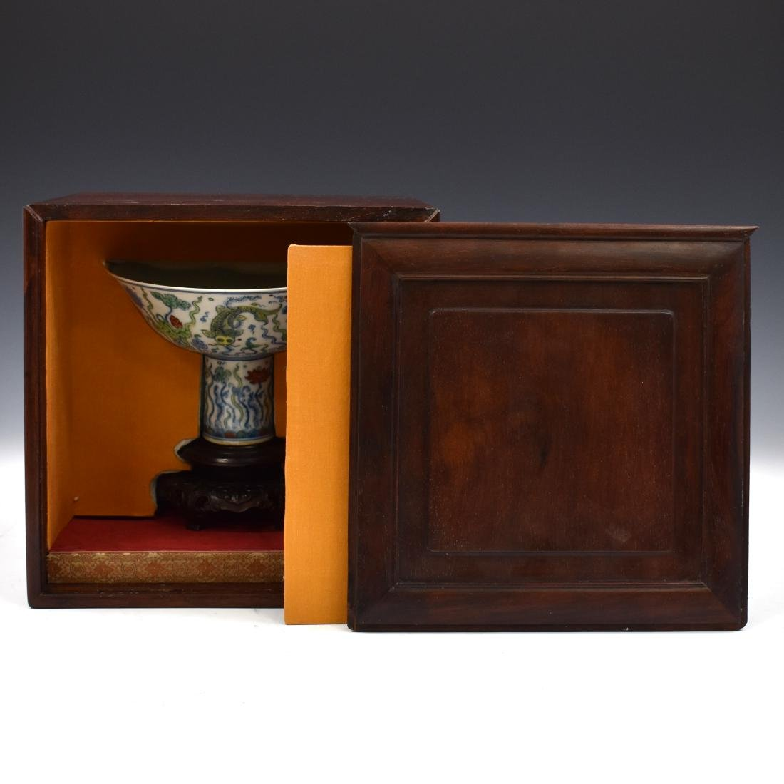 MING DOUCAI HIGH STEM BOWL IN PROTECTIVE BOX - 2