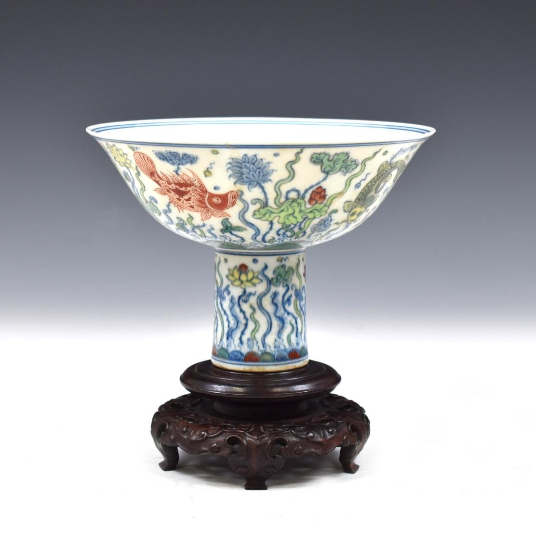 MING DOUCAI HIGH STEM BOWL IN PROTECTIVE BOX - 3