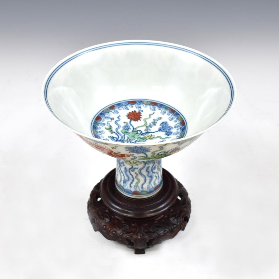 MING DOUCAI HIGH STEM BOWL IN PROTECTIVE BOX - 4