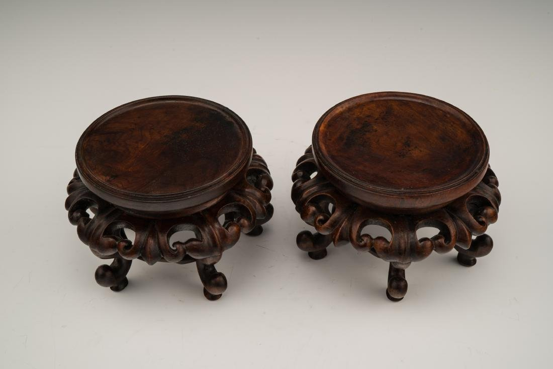 PAIR OF QING FAMILLE ROSE JARS ON STAND - 10