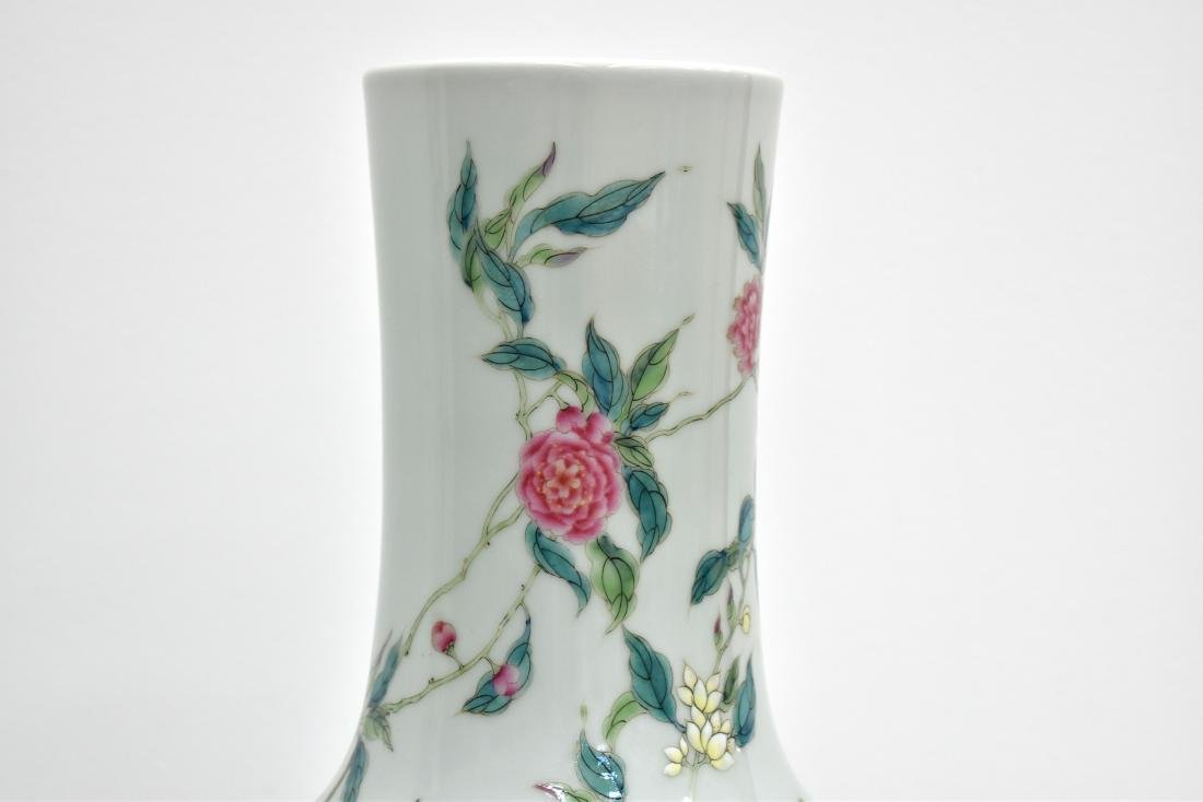 PAIR OF LARGE FAMILLE ROSE NINE PEACH VASE ON STANDS - 15
