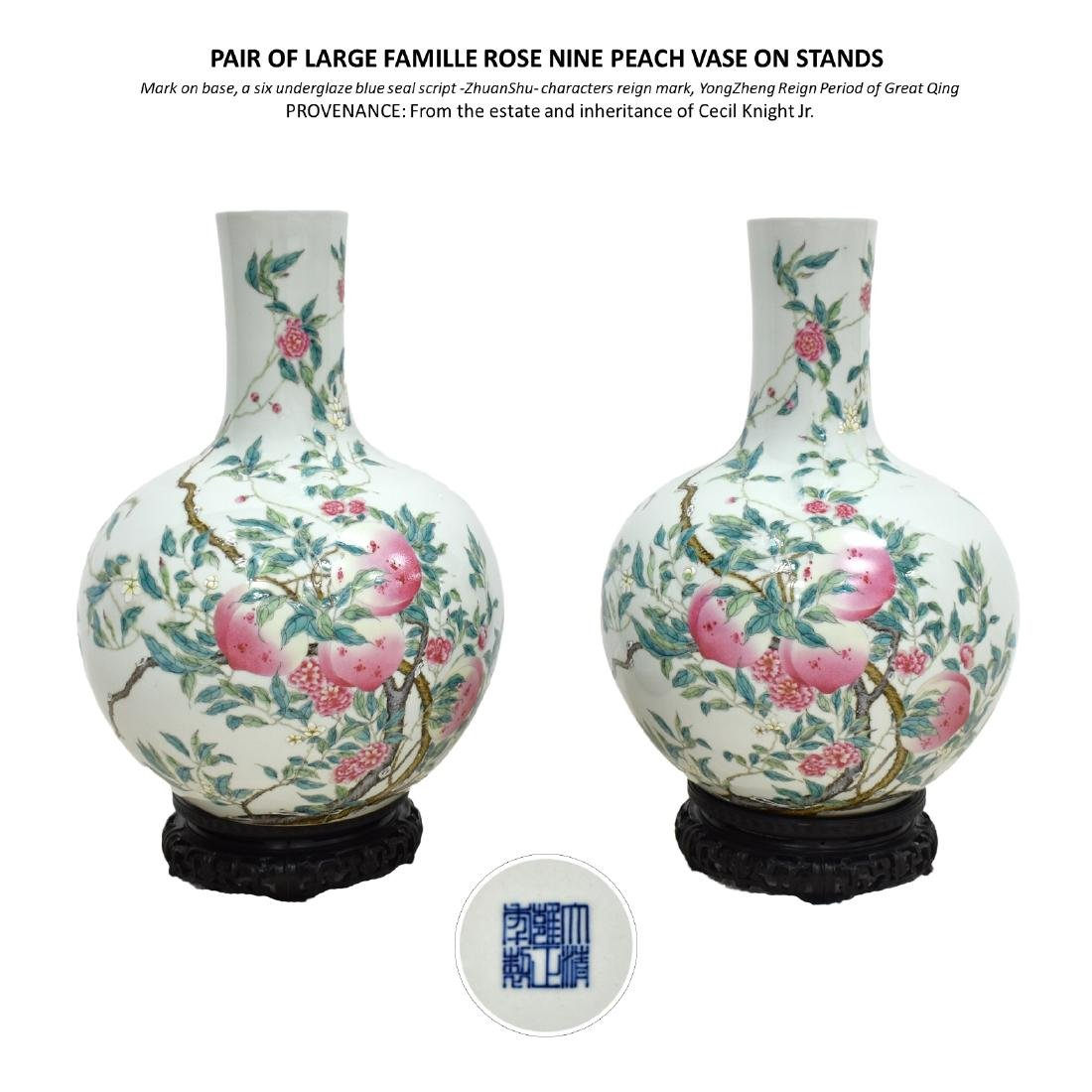 PAIR OF LARGE FAMILLE ROSE NINE PEACH VASE ON STANDS