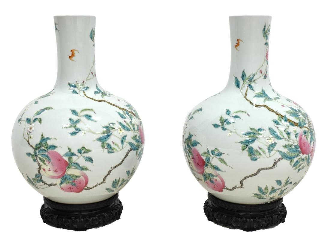 PAIR OF LARGE FAMILLE ROSE NINE PEACH VASE ON STANDS - 20